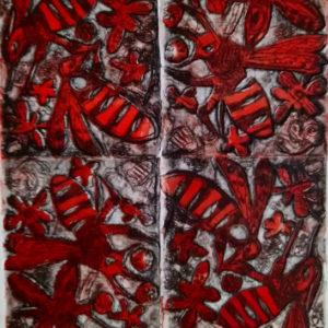 Renate Armatys, Flygande bin, färgetsning/koppar, 29x19