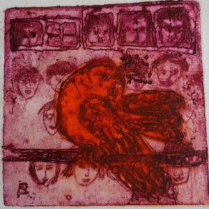 Renate Armatys, Barnen och Fågeln, färgetsning/koppar, 20x20